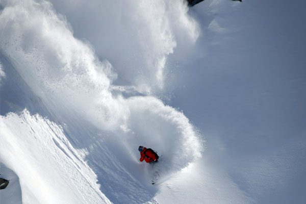 Freeride Avalanche awareness, snowboard verbier with Independent